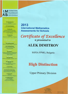 International Mathematics Assessments for Schools - IMAS - High Distinction