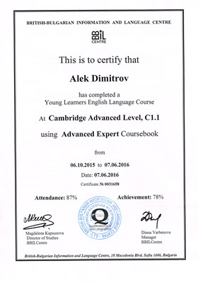 Cambridge Advansed Level C1.1 Certificate