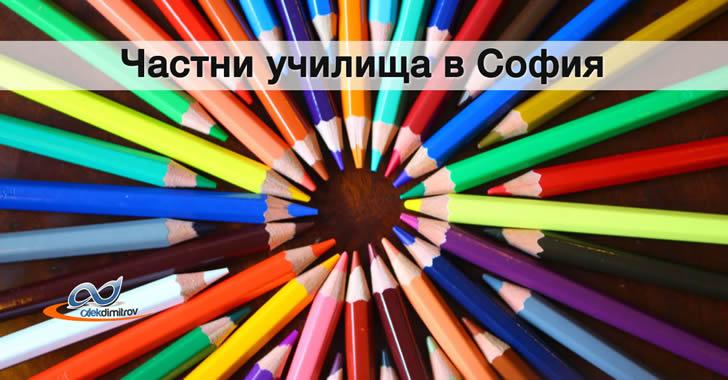 Карта на частните училища в София